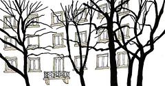 Haid-und-Neu-Straße, Karlsruhe, January 2018 (stevefaradaysketches) Tags: haidundneustr oststadt karlsruhe urbansketch inkdrawing trees houses flats