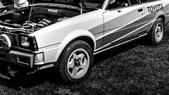 toyota rally stripes (fe2cruz) Tags: 7dwf white bw monochrome blackwhite black blackandwhite car automobile japanese japaneseclassiccarshow longbeach toyota mono