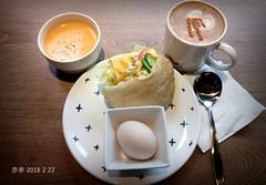 今日的怡客早餐,懷念的口袋餅,今天還加了南瓜湯,好喝!😃   #breakfast (c.meihua) Tags: breakfast