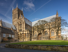 Lincoln Cathedral in Winter (S Marwood) Tags: lincoln cathedral architecture building lincolnshire grass sky cloud winter tree canon700d
