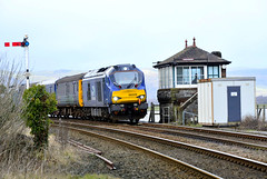 68029 (elr37418) Tags: 1897 furness signal box cumbrian coast uk lancashire england 68029 carnforth limestone paley austin arnside semephore standstone listed grade two nikon d7100 drs direct rail services yellow blue track stone ballest