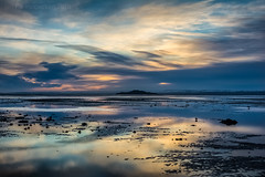 Easy Blues (ianrwmccracken) Tags: horizon sand landscape water nikkor2470mmf28 sea scotland morning nikon beach silhouette d7100 shore cloud ianmccracken island riverforth fife tide coast reflection inchkeith