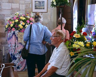 Visitors at a flower show