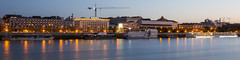 Panoramic view of Danube Riverside (HansPermana) Tags: bratislava slovakia slovensko eu europa europe danube river donau fluss water reflection bluehour lights longexposure morning autumn october 2017 panorama panoramic buildings