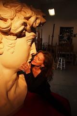 P2020191 (photos-by-sherm) Tags: michelangelo bust david replica cameron art museum wilmington nc pancoe center winter spotlight floodlights kissing