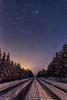 nighttime (katrinlillenthal) Tags: nature landscape night stars outdoor nopeople winter snow forest trees sky road finland