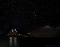 Orion's Belt, Sword and Castle (SkyeWeasel) Tags: scotland skye kyleakin castlemoil ruins night stars orion constellation sky landscape