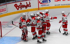 B9361 The Checkers celebrate their 8-2 win (sabre11richard) Tags: american hockey league minor ice sport nc ahl