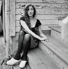 Jess 4 (neohypofilms) Tags: series portrait medium format 120 film hasselblad retro vintage style fashion shoes white wood clogs leggings hair wrap porch blackwhite bw classic 60s 70s