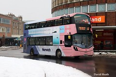 SK16 GYR First Norwich 35193 Wright Streetdeck March18 (David Heath) (focus- transport) Tags: buses coaches snow shearings wellgalde trent norfolk green ipswich goahead konectbus metrobus first norwich leeds london centrewest metroline travel transdev blackburn freestones stagecoach chesterfield bedford devon megabus gj holmes stephensons mercedesbenz tourismo scania l94ub n230ud n250ud wright wrightbus solar streetdeck eclipse gemini 3 alexander dennis adl e20d e40d enviro200 enviro400 mmc irizar i6 volvo b7tl caetano coasthopper optare solo excel dart plaxton pointer cheetah