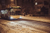 Better take the bus (denespocsik) Tags: winter street night light urban road silhouette snow bus zebra crossing snowflake stop snowfall photography beam city