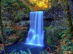 The end of the day (pandt) Tags: silverfalls statepark oregon water waterfall longexposure forest trees leaves sunlight sun slowwater outdoor landscape nature yellow green blue canon eos 7d slr
