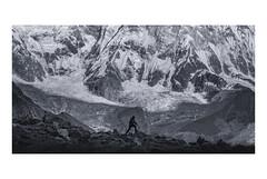 Take the challenge (Chamikajperera) Tags: annapurna beautiful mountains snow lan landscape black white bnw hike hiking