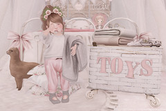 Let's start by taking a smallish nap or two... (Chelsea Noele Knight) Tags: naps girl kid pink gray socks sweats toys bedroom sleepy