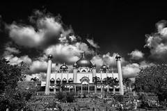 Mosque In The Clouds (kieronjameslong) Tags: sky cloud clouds landscape architecture building mosque monochrome blackandwhite bnw bw wideangle leica leicaq kuching sarawak malaysia borneo asia fareast southeastasia religion leicamonochrome