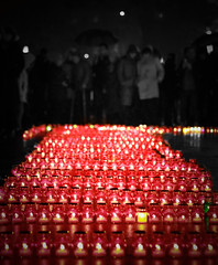 Memorial Day for the victims of the Holodomor (bobobahmat) Tags: euromaydan lviv life lvov ukraine euro city town street color autumn history protest holodomor performer light lights candle memory memorial victims 2013 red night