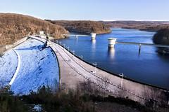 Dam (jack error) Tags: dam barrage lac lake gileppe water snow neige eau curves curvy arbres trees winter hiver blue