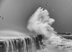 aberdeen breakwater (colskiguitar) Tags: aberdeen harbour breakwater northeast waves storm pier wild weather lighthouse bnw monochrome