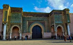 Old Bab Mansour gate, Meknes, Morocco (Bokeh & Travel) Tags: oldbabmansour gate door meknes morocco kingdomofmorocco architecture colorful arch muslim islamic islam africa babmansour beautiful