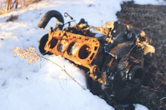 Abandoned Engine (Abandoned Illinois) Tags: 3d focus 4 piston cylinder motor car cars old rusty engine abandoned abandonedillinois