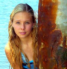 Water Nymph (Sunset Beach Buzz) Tags: panasonic dmcfz200 buzzfotoz blonde teen beautiful cute pretty face portrait beach