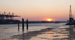 Sonnenuntergang im Hamburger Hafen (Körnchen59) Tags: sonnenuntergang sunset hafen port harbor hamburg germany kräne frostig eis ice sony körnchen59 elke körner