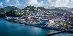2017 - Regent Cruise - Grenada - St. George's Centre (Ted's photos - For Me & You) Tags: 2017 cropped grenada nikon nikond750 nikonfx regentcruise stgeorgeâs tedmcgrath tedsphotos vignetting stgeorges stgeorge's water pier dock stgeorgesgrenada coast coastline vehicles