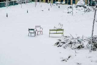 Winter snow in Paris City and its parks