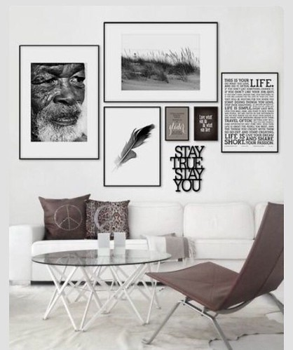 Home Decor - Living Room : Gallery wall idea: B&W, sepia or color photo prints could dramatically change th...