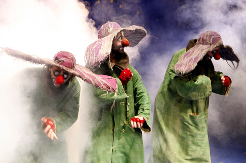 Green clowns in the fog by A Lopez - Slava's Snowshow