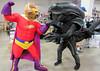 "San Jose Super Toy Show 2018: Bull-Itt battles the illegal ""Alen""! (critter superhero) Tags: superhero bull big muscle spandex speedo alien costume convention movie"