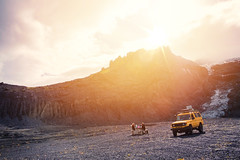 Lunch by the Glacier (Dan Haug) Tags: iceland glacier gígjökull katlageopark vacation eyjafjallajökull volcano mountains landscape september fujifilm xt2 xf1655mmf28rlmwr xf1655mm yellow flare offroad