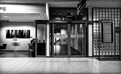 The Man In The Corridor (Alfred Grupstra) Tags: architecture indoors blackandwhite urbanscene subwaystation nopeople modern station window citylife builtstructure city newyorkcity corridor entrance insideof flooring business transportation street