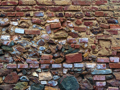 Brick Wall (lgflickr1) Tags: northvietnam vietnam wall masonary mortar rocks texture built layers exterior outdoors outside manmade southeastasia urban red nikon nikor travel vacation d750 2470mm