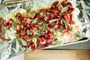 Toddler Cooking (Katherine Ridgley) Tags: toronto food cooking cook kitchen strawberry salmon leek baked oven tray foil tinfoil aluminiumfoil