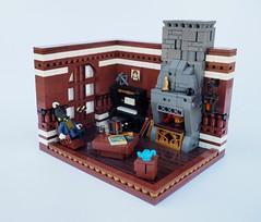 Burglars!! (Robert4168/Garmadon) Tags: lego uncle brethrenofthebrickseas chimney burglar smuggler eslandola room interior brown grey chair table piano grate lantern