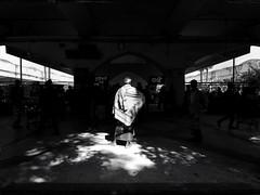 """Enlightened"" (Shahrear94) Tags: monochromatic shadow light train station mobileshot memoirs moment standing man bangladesh dhaka contrast sunlight platform"