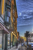 Cold downtown sunrise (Pearce Levrais Photography) Tags: sunrise city cars sidewalk people hdr canon 7d markii