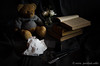 (nuriapase) Tags: bear stilllife naturemorte bodegón old book pen letter type letra pluma paper lowkey clavebaja dark edition art creative composition light nikon imagination a