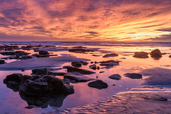 Low tide sunset (CloudRipR) Tags: sunset beach moonlightbeach encinitas clouds color rocks sand ocean sea tidepool waves nikon nikkor d810 california southerncalifornia socal