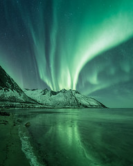 Aurora Volcano (eriknst) Tags: aurora sky landscape nikon d810 1424 mountain green blue water sea ocean night nightscape seascape winter snow frost ice clouds beach north polar arctic lofoten reflection shore sirui solitude