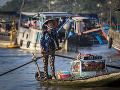 Floating Market - Cai Be - Vietnam (Ar-photography.fr) Tags: caibe vietnam city people portrait water boat travel travellers
