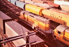 Union Pacific SD40-2 locomotive at Omaha in 1984 0566 (Tangled Bank) Tags: old classic heritage vintage union pacific up railroad railroads railway railways train trains