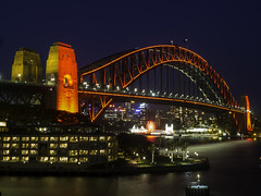 Sydney Harbour Bridge lit up in RED as part of CNY18 Chinese New Year celebrations (Paul Leader - All Rights Reserved) Tags: citypicssydney lunapark nightphoto sydneyharbourbridge olympus paulleader architecture parkhyattsydney sydney nsw newsouthwales australia chinesenewyear2018 chinesenewyear2018sydney