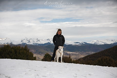 En el Parador (Aildrien) Tags: lena jaca chenia mountains outdoor snow pirineos trees 50mm arboles pet pyrenees parador dog oroel aragon nevada trekking nieve mountain