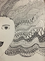 Writing on paper 3.52 (New Expressions by the Old Christine) Tags: zentangle drawing art meditation blackandwhite sharpie woman hair designs shapes patterns paper writing