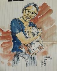 Annisa et son chat pour #JKPP . #sketch #croquis #portrait #chat #cats (dege.guerin) Tags: instagramapp square squareformat iphoneography uploaded:by=instagram