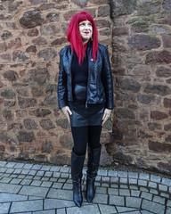 Black Leather (Miss Sadie Batz) Tags: asos leatherjacket ootd leatherskirt fashion kneehighboots boots outfit leather
