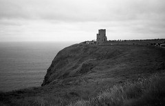 Cliffs of Moher BW 2 (Meleager) Tags: ireland county claire europe film tower olympus xa kodak tmax iso100 black white bw