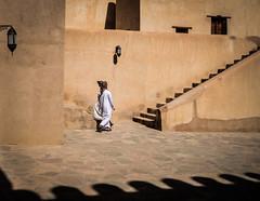 Walking through time (Huey Yoong) Tags: oman gulfnations middleeast arabic muslimnation islamicnation dishdasha traditionaldress men fort defence nizwa stairs shadows nizwafort nikond600 nikkor28300mmvr travelphotography